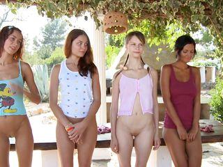 four cuties taking their panties off
