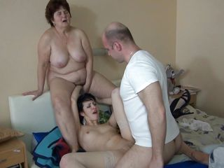 fucking a brunette while her granny watches