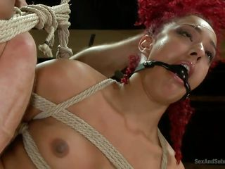 naked redhead gets tied up and fucked