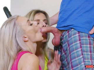 mom and step-daughter having fun with gym trainer