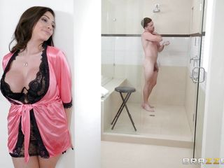 milf surprises his big cock in the shower with some heavy sucking