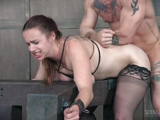 submissive fuckpig spitroasted on bdsm cross