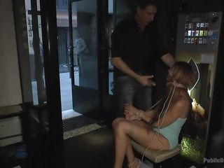 bonded milf sucks cock in a bar