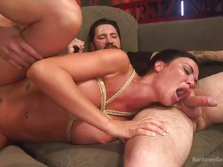 jasmine gets all holes rammed in rope bondage gangbang