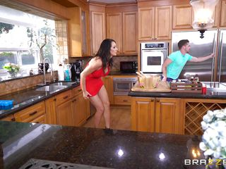 busty mommy sucks huge cock in the kitchen