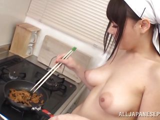 japanese girl is cooking with love