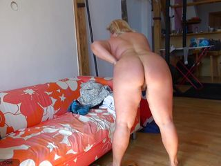 chubby nanny plays with her pussy