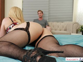 blonde wife crawls over for a blowjob