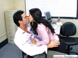 stunning roxy sucks her boss's fat cock